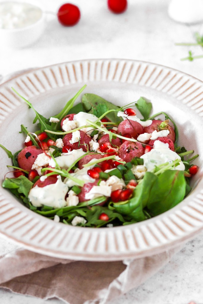 Roasted Radish Salad (Gluten, Grain & Low Carb) From Front Close Up