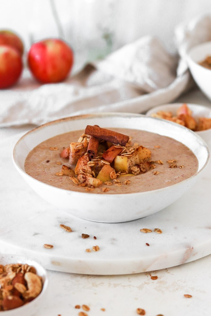 Apple Pie Smoothie Bowl (Vegan, Gluten & Refined Sugar Free) From Front Close Up