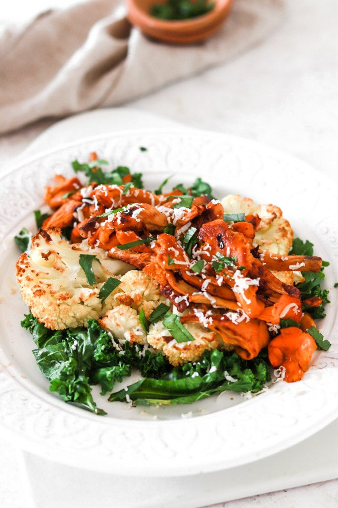 Roasted Cauliflower Steak with Chanterelles (Vegetarian, Gluten, Grain Free & Low Carb) From Front Close Up