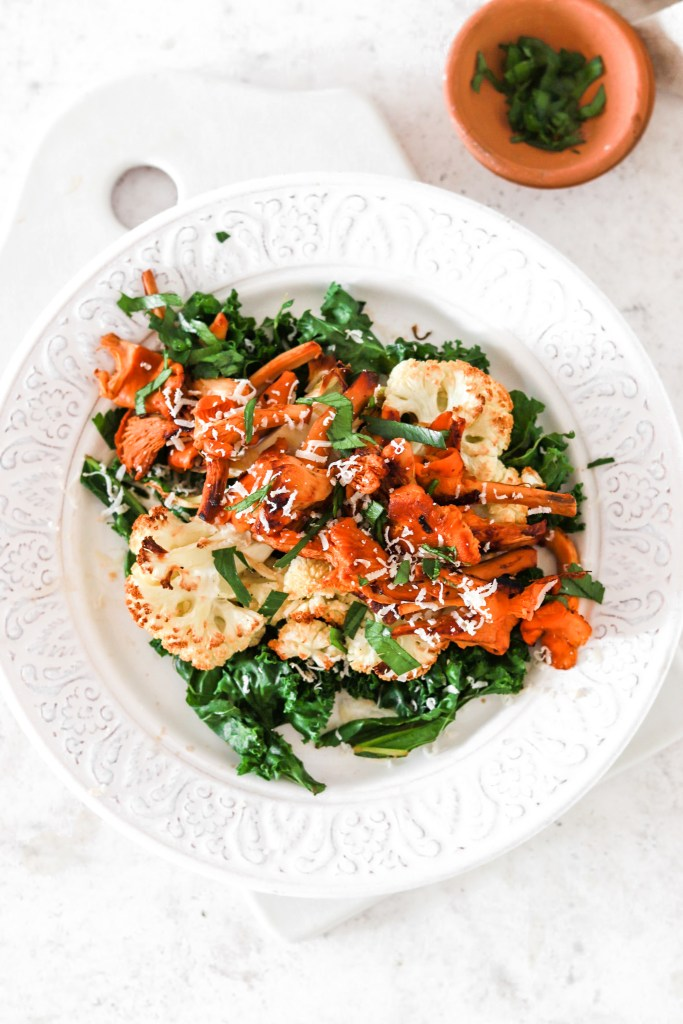 Roasted Cauliflower Steak with Chanterelles (Vegetarian, Gluten, Grain Free & Low Carb) From Above