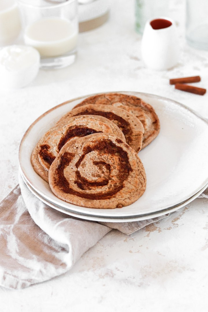 Cinnamon Bun Pancakes (Gluten & Refined Sugar Free)