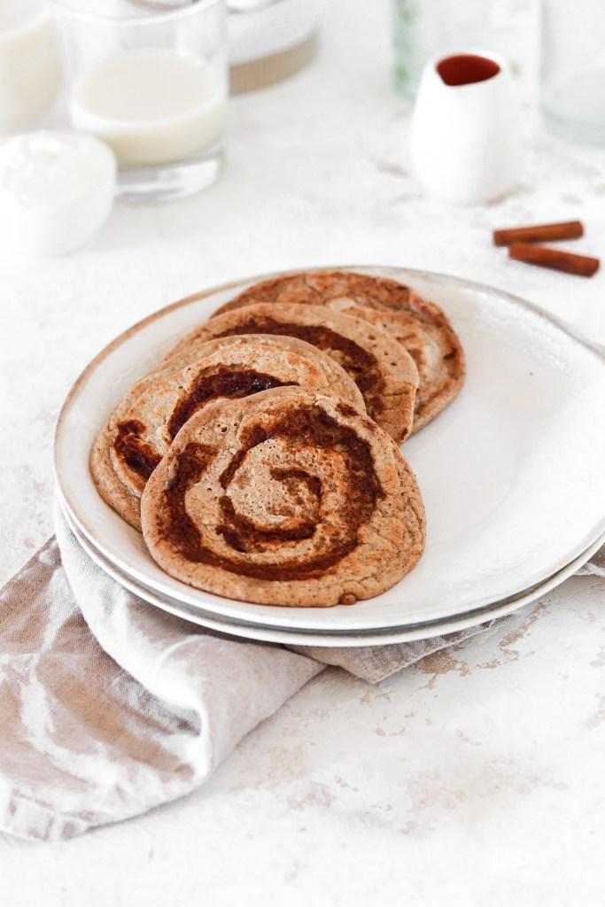 Cinnamon Bun Pancakes (Gluten & Refined Sugar Free) From Front