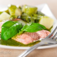 Salmon with Pesto, Potatoes And Green Beans
