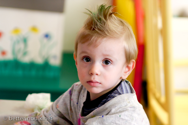 Punk Toddler with Green Mohawk