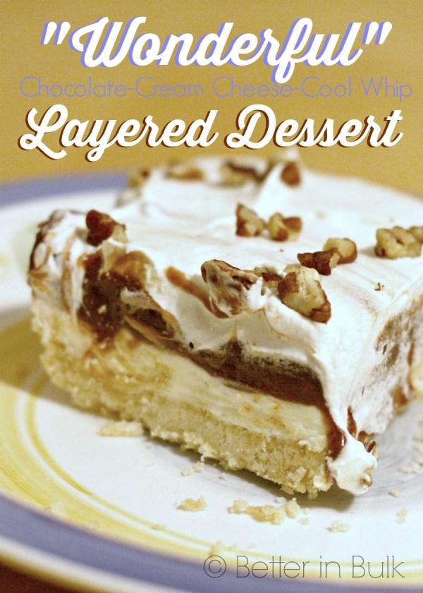Wonderful Chocolate Cream Cheese Cool Whip Layered Dessert from Better in Bulk