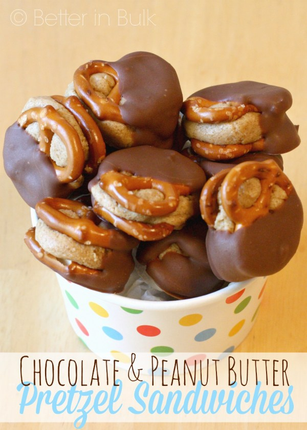 Chocolate-dipped peanut butter pretzel sandwiches - an easy recipe for a tasty sweet snack that everyone will love to eat!