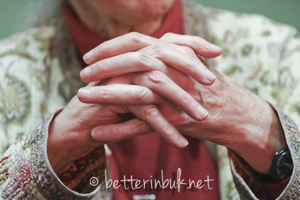 Close up of Jane Goodall's hands