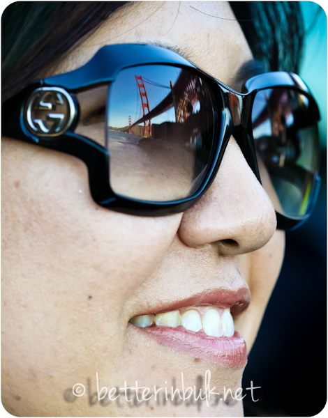 reflection of Golden Gate bridge in sunglasses