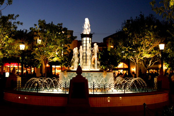 Buena Vista Street Disney California Adventure at night