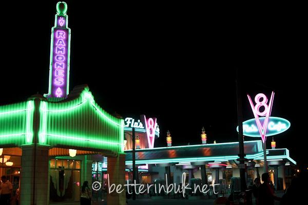 Cars Land at Disney California Adventure by night