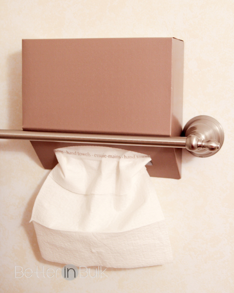 5 Quick and Easy Steps to a Beautiful Guest-Ready Bathroom - DIY Kleenex Hand Towel Holder