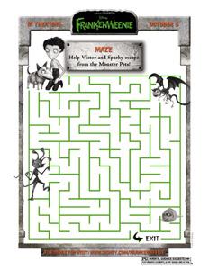 FRANKENWEENIE - Monster Pet Maze activity sheet