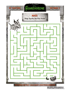 FRANKENWEENIE - Sparky Maze activity sheet