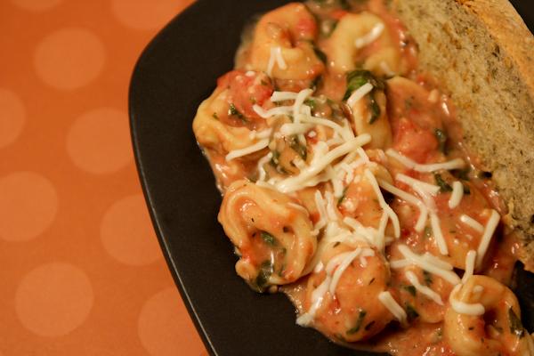cheese tortellini in tomato spinach sauce