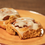 Pumpkin cinnamon rolls with cream cheese frosting