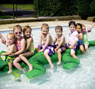 Swimming at the kiddie pool!