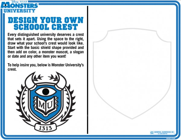 Monsters University Activity Sheet  Crest