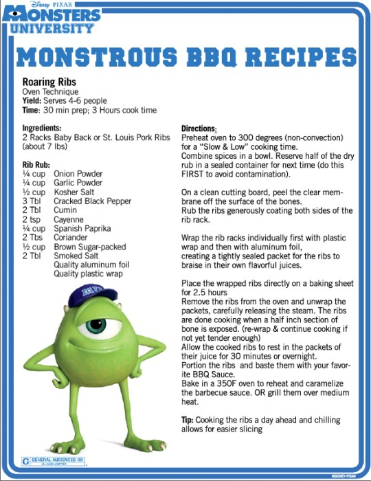 Monsters University BBQ recipes page 2