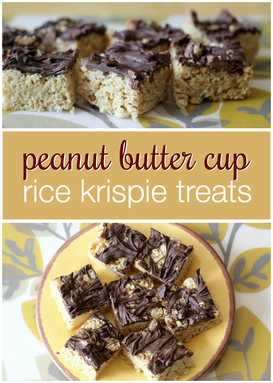 Looking for a delicious twist on the classic rice krispie treats recipe? These peanut butter cup rice krispie treats are a huge hit whenever I make them for a party or just for the family! I especially love them because they're no-bake!