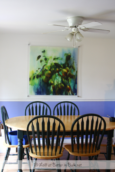 My kitchen - I love my periwinkle walls and matching artwork that is easily wiped clean... handy in a house with 5 kids!