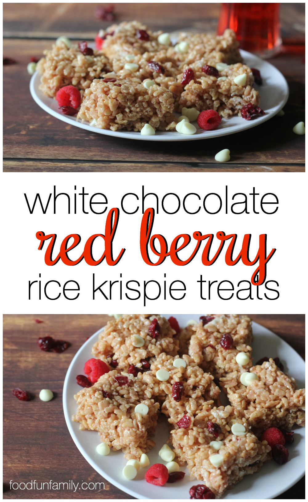 This white chocolate red berry rice krispie treats recipe was easy to make as well as sweet and tasty and incredibly moist. It's a perfect no-bake dessert for holidays like Valentine's Day or Christmas (actually, can you think of a time these would NOT be perfect?)