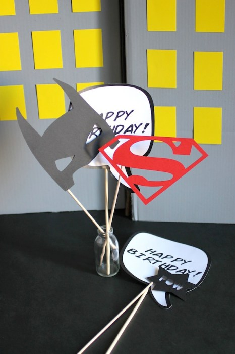 comic book super hero party photo props