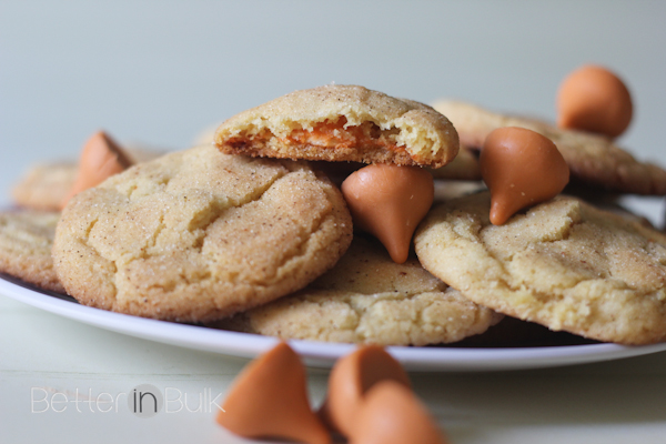 Pumpkin spice snickerdoodle cookies with Pumpkin spice Hershey's Kisses