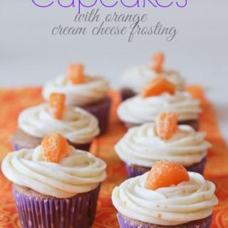 orange spice cupcakes with orange cream cheese frosting