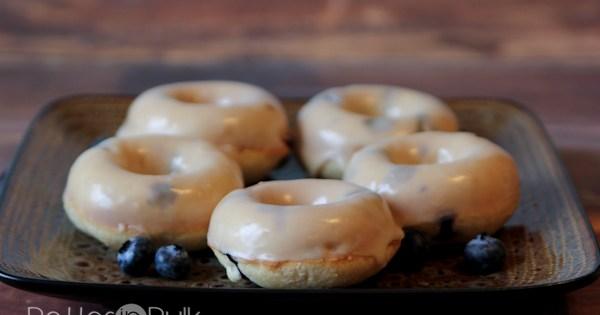 Glazed Baked Blueberry Doughnuts