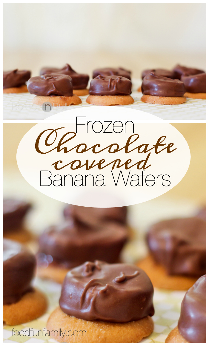 Frozen Chocolate Covered Banana Wafers - a quick and easy bite-sized dessert recipe that is perfect for satisfying your sweet tooth!