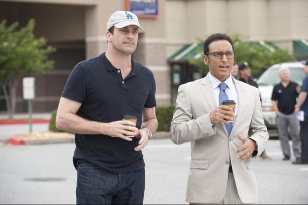 Aasif Mandvil and Jon Hamm in Million Dollar Arm