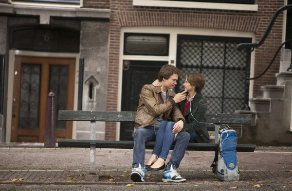 Hazel (Shailene Woodley) and Gus (Ansel Elgort) share a tender moment during a memorable trip to Amsterdam.