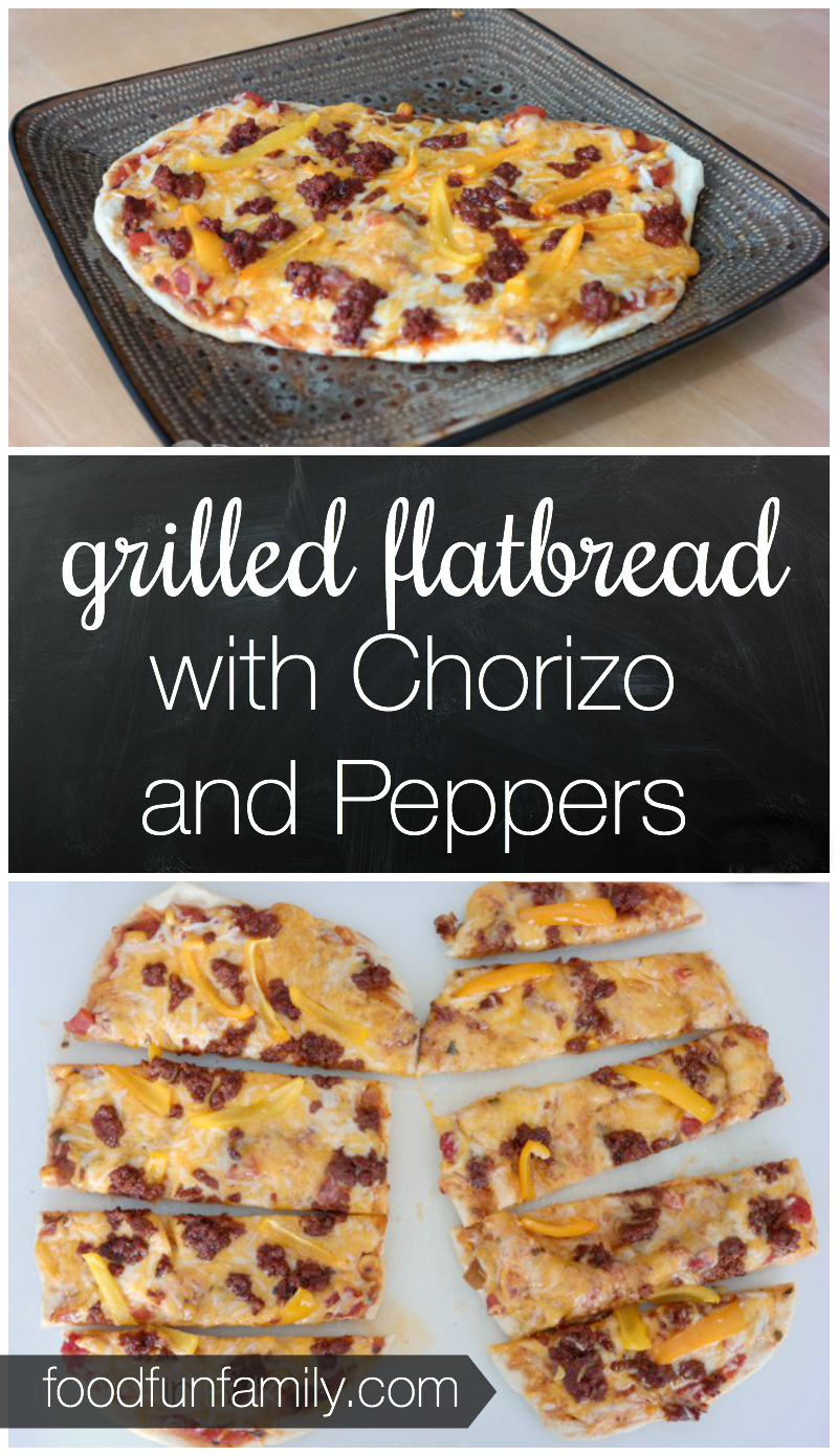 Grilled Flatbread with chorizo sausage and peppers