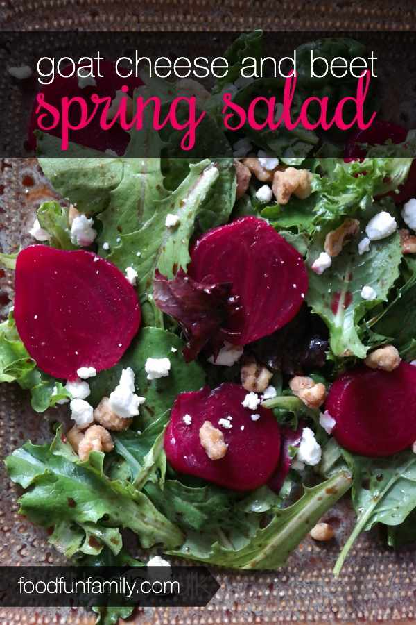 Perhaps the perfect light and tasty lunch or side salad at the dinner table: Goat cheese and beet spring salad with light vinaigrette