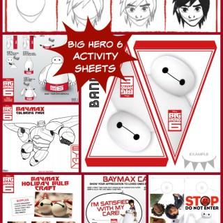 Big Hero 6 Activity Sheets #BigHero6