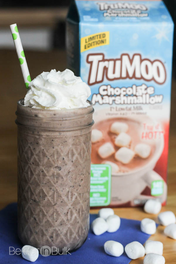 Light cookies and cream milkshake with TruMoo Chocolate Marshmallow milk