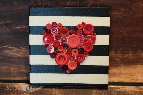 DIY button heart canvas wall hanging