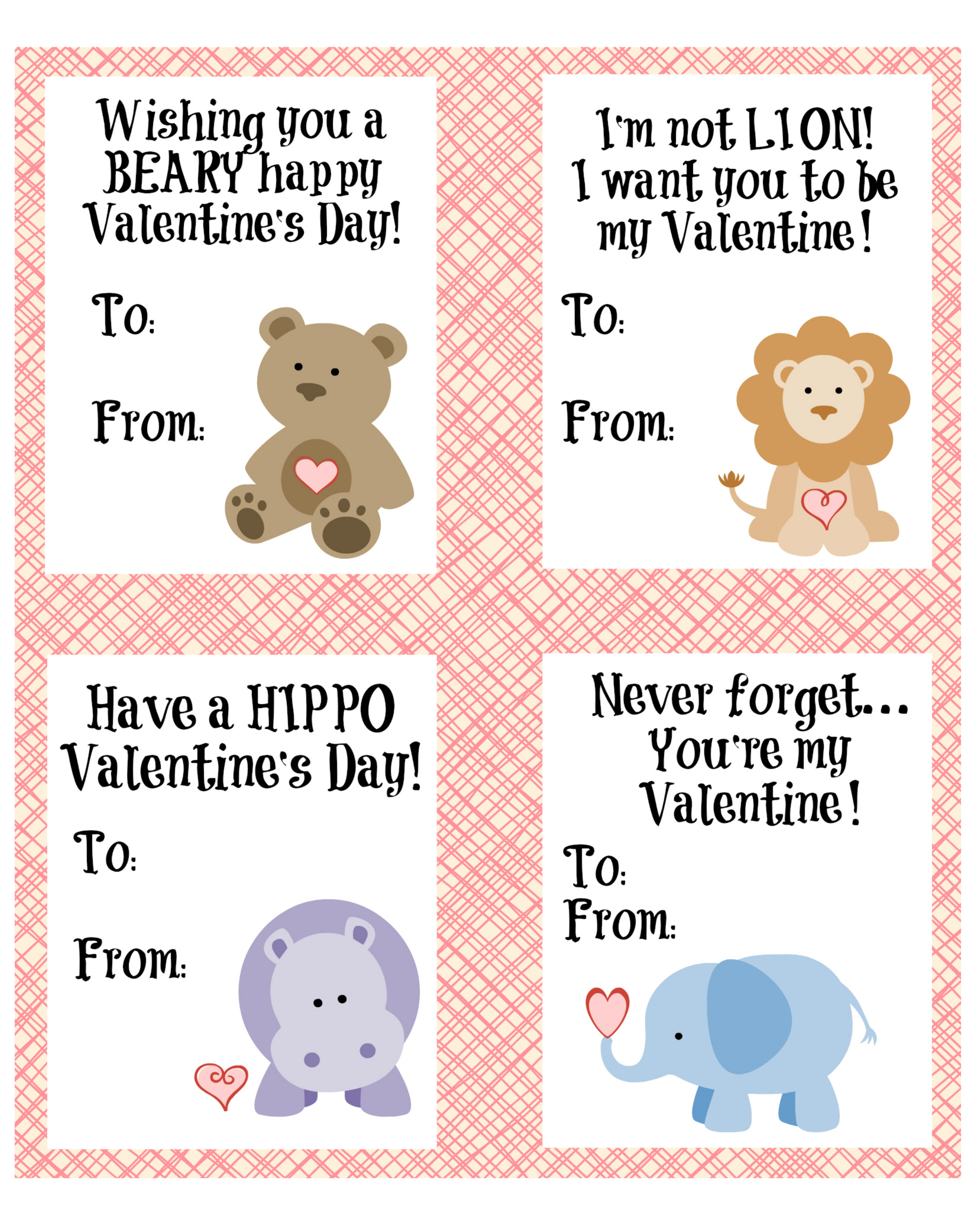 Cute Animal Valentines Day Cards Free Printable-4422