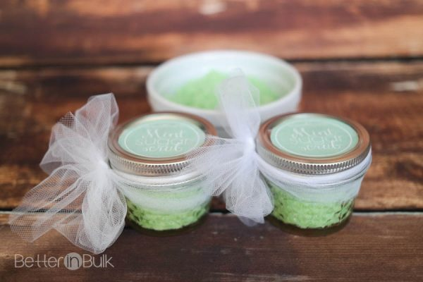 Mint sugar scrub with coconut oil and peppermint essential oils