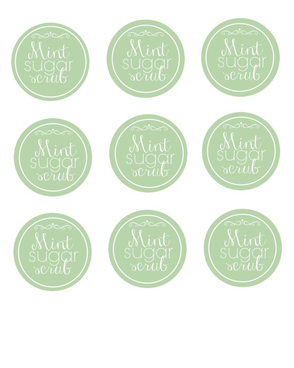 mint sugar scrub printable labels
