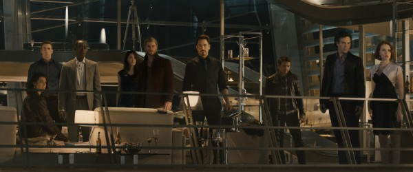 "Marvel's Avengers: Age Of Ultron (L to R) Maria Hill (Cobie Smulders), Steve Rogers/Captain America (Chris Evans), James ""Rhodey"" Rhodes/War Machine (Don Cheadle), Dr. Cho (Claudia Kim), Thor (Chris Hemsworth), Tony Stark/Iron Man (Robert Downey Jr.), Clint Barton/Hawkeye (Jeremy Renner), Bruce Banner/Hulk (Mark Ruffalo), and Natasha Romanoff/Black Widow (Scarlett Johansson)