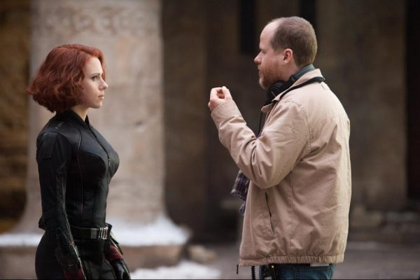 Joss Whedon and Scarlett Johansson on the set of Avengers: Age of Ultron {Photo credit: Marvel}