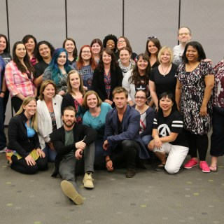 Chris and Chris group shot #AvengersEvent Avengers: Age of Ultron