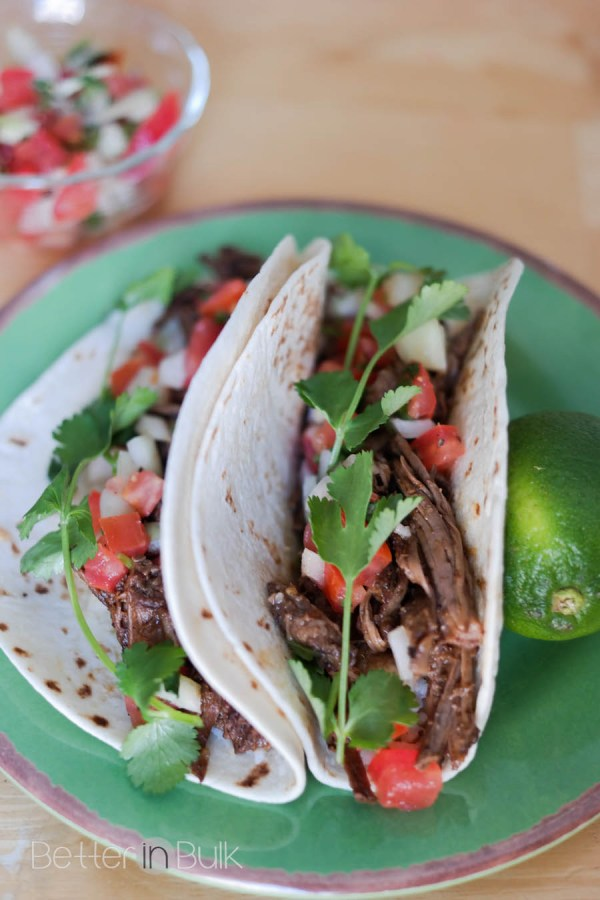 barbacoa tacos with fresh pico de gallo