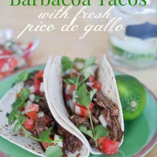 Crockpot Barbacoa Tacos With Fresh Pico de Gallo