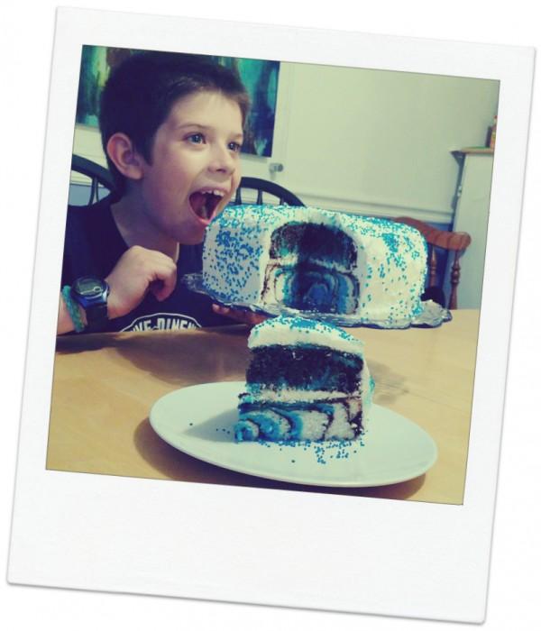 AJ with his zebra birthday cake