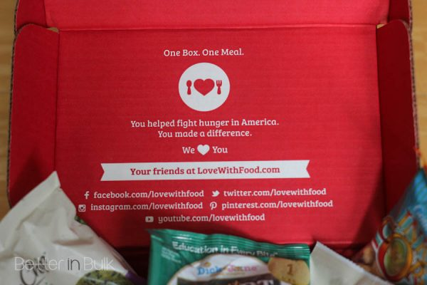 Love with Food donates a meal to a hungry child for every box delivered