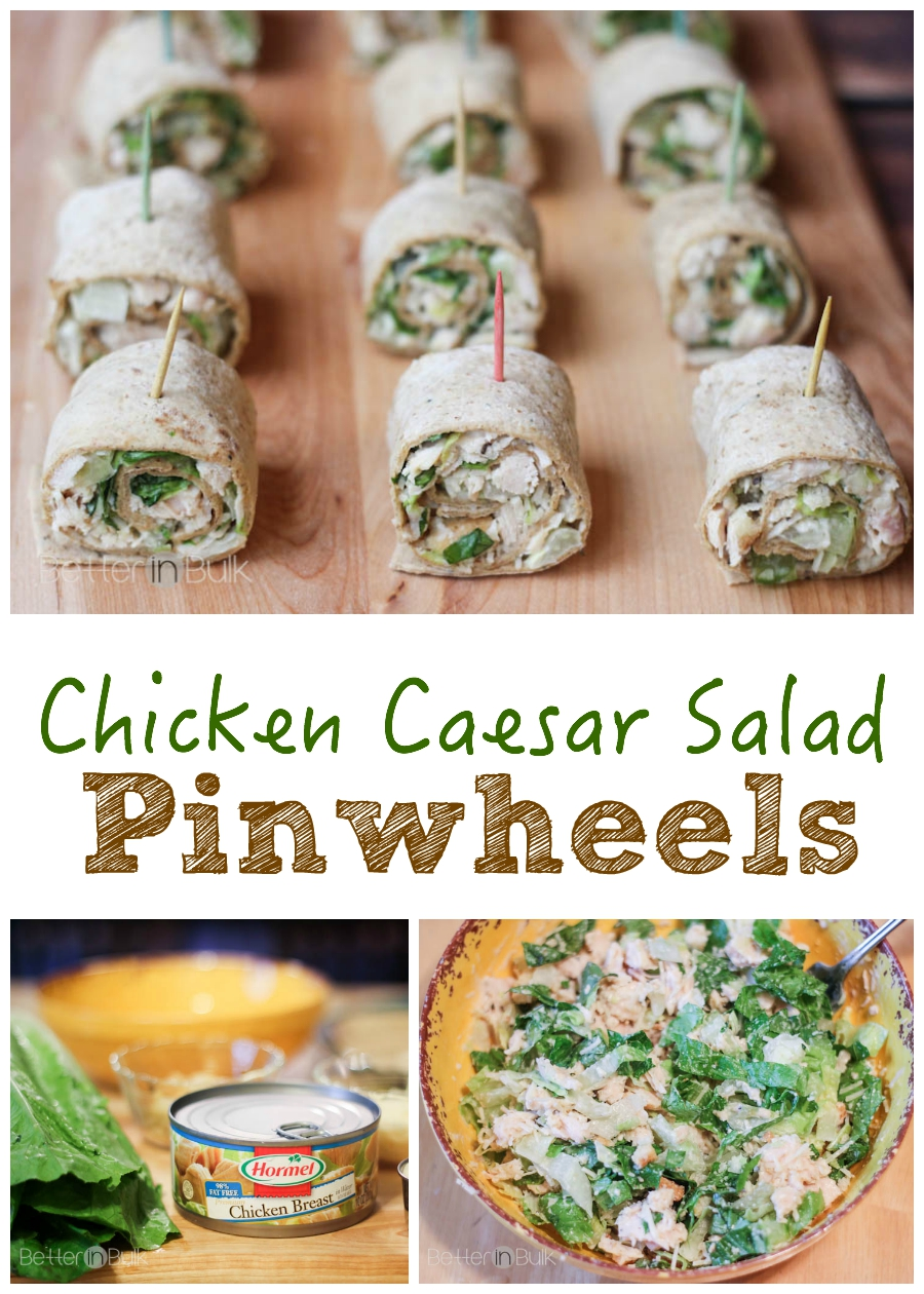 These may just be the perfect way to eat salad...on a toothpick! Easy Chicken Caesar Salad Pinwheels recipe - a family-friendly quick meal or party appetizer