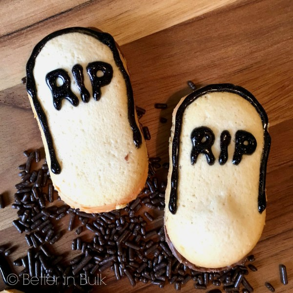 Ghosts in a Graveyard Pudding Cups Halloween recipe RIP cookies by Better in Bulk