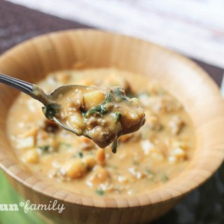 Looking for an easy soup that will really stick to your bones? This hearty pumpkin potato soup recipe is a family favorite! This recipe will become your go-to soup for winter